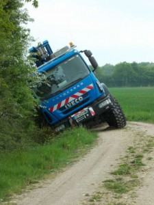 ERDF lorry in ditch